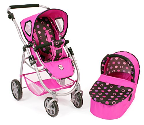Bayer Chic 2000 638 48 Kombi-Puppenwagen Emotion 2 in 1, Pinky Balls, schwarz, Pink