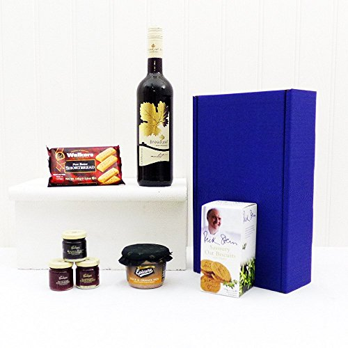 Broadleaf Red Wine and Nibbles Hamper Presented in a Blue Gift Box - Gift Ideas for Birthday, Wedding, Anniversary and Corporate