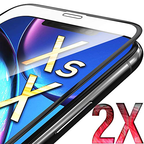 UTECTION 2X Full Screen Schutzglas 3D für iPhone X/XS - Perfekte Anbringung Dank Rahmen - Premium Displayschutz 9H Glas - Kompletter Schutz Vorne - Folie Schutzfolie Schutzglasfolie Ultra Clear