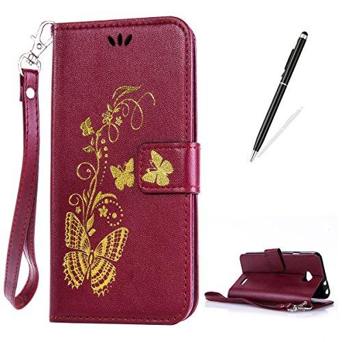 CaseHome Compatible with Case LG L90/D405 PU-Leder Etui Hülle Folio Magnetischer Flip Stand-Funktion Geprägt Brieftasche Kratzfest-Braun (Lg L90 Case Folio)