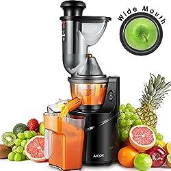 Aicok Extracteur de jus lent, Large Ouverture Extracteur de 75 mm pour Jus de fruits et légumes avec un Pot à jus et une Brosse de nettoyage