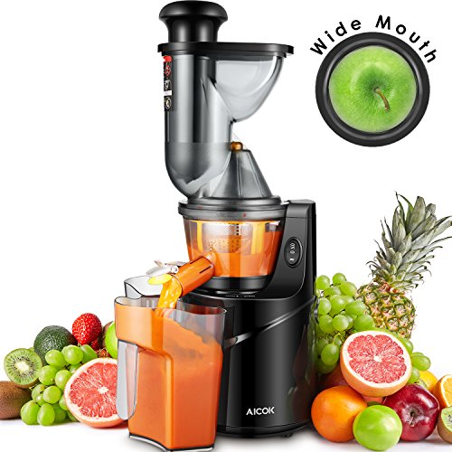 Aicok Juicer Machine Slow Juicer, 75MM Big Mouth Whole Masticating Juicer Extractor with Juice Jug and Brush, Quiet Motor and High Nutrient for Fruit and Vegetable Juice