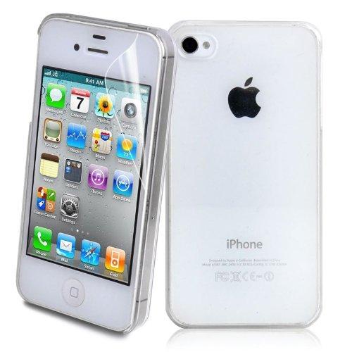 iPhone 4 Hardcase inklusive Schutzfolie fürs Display kristallklar / durchsichtig Schutzhülle Handyhülle iPhone 4 / 4S