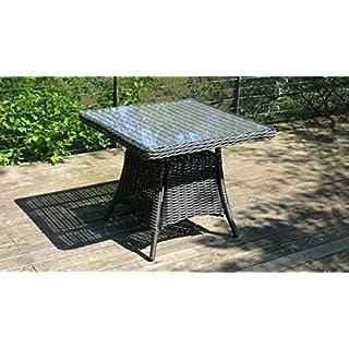 Outdoor Rattan-Tisch Polyrattan 92x92cm mit Glasplatte