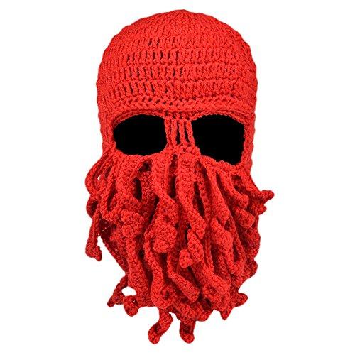 Vbiger Sturmhauben Lustige Bartmütze Stickmütze mit Bart Maske (Bart Kostüm Rot)