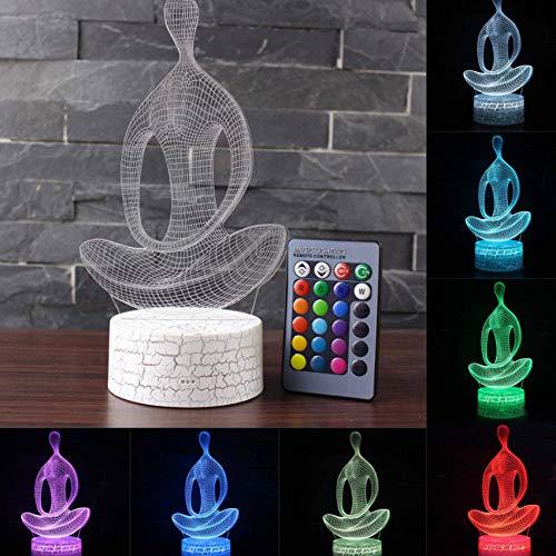 Art Zen Buddha Lámpara 3D Control Remoto Ilusión Óptica 7 Cambio de color LED Mesa Luz de Noche Para Niños Dormitorio