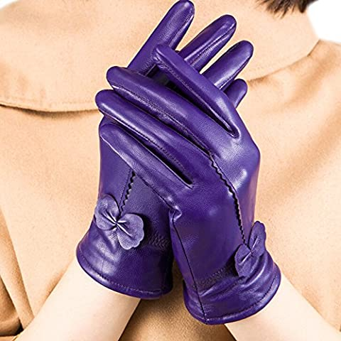 Elegant Women Winter Premium Soft Cabretta Leather Gloves Fleece Lined Mittens