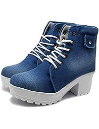 Kajmi Women's Fashion Casual Outdoor High Heel Ankle Denim Boots