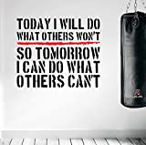 Today I Will Do.... Premium Motivational Art Wand Aufkleber. Schwarz / Rot