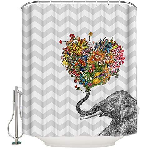 CyCoShower Duschvorhang Niedliche Tiere Elefant Blow Bubbles Grau Print Polyester-Zimmer-Duschvorhänge mit Haken 36 x 72 inch Elephant with Heart Shaped Flowers - Floral Print Bubble