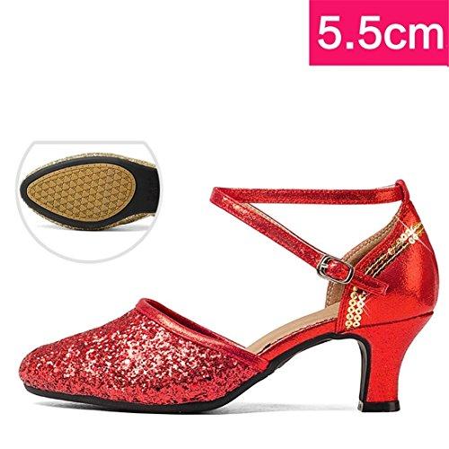 Wxmddn Danse Latine Chaussures Rouges Chaussures De Danse Femme Adulte Chaussures De Danse En Plein Air 5.5 Cm Doux Fond Talon Haut Chaussures De Danse Rouge 5.5 Cm Pour L'extérieur
