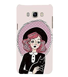 99Sublimation Sad Girl with Black Cat and Hat 3D Hard Polycarbonate Back Case Cover for Samsung Galaxy J7 2016 (Duos, 10F, 10FN, 10M, 10H)