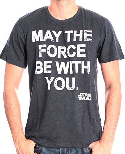 Star Wars - Star Wars - May The Force, T-shirt da uomo, blu (bleu pale chiné), X-Large (Taglia Produttore: XL)