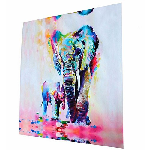 Lienzo pintado a mano con diseño de elefante, de Sukisuki, pintado al óleo, sin marco, decoración de pared, Multicolor, 60cm by 60cm