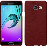 Coque en Silicone pour Samsung Galaxy A3 (2016) A310 - brushed rouge - Cover PhoneNatic Cubierta + films de protection