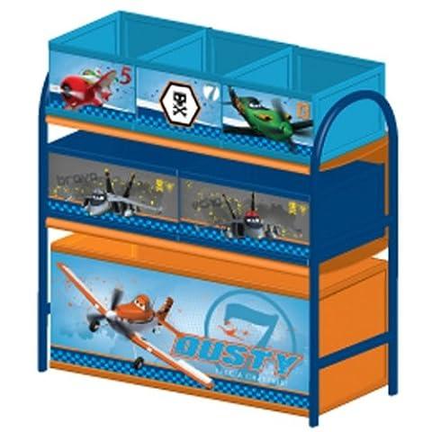 Multi Toy Organizer PLANES mit 6 Fächern und Metallgestell Aufbewahrungsboxen Spielzeugregal