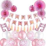 SPECOOL Addobbi Compleanno Bambina, Palloncini Rosa Addobbi per Feste di Decorazioni Compleanno Ghirlanda Balloons Banner Set con Decorazione Rosa Fan di Carta Nappe di carta per Ragazza Fidanzata