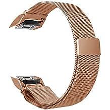 Fintie Bracelet Samsung Gear S2 - en Acier Inoxydable sport poignet en métal Replacement Bracelet Milanais avec fermeture magnétique pour Samsung Gear S2 SM-R720 / SM-R730 Smart Watch, Or rose