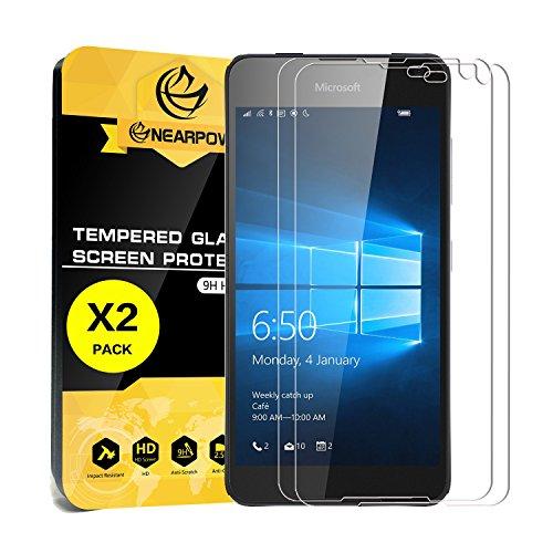 [2 Stück] Microsoft Lumia 650 Panzerglas Displayschutzfolie, Nearpow Schutzfolie 9H Härte, Anti-Kratzen, Anti-Öl, Anti-Bläschen, lebenslange Garantie