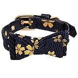 YUnnuopromi Hundehalsband, mit Blumenmuster, Verstellbare Hundehalsbänder aus Kunstleder