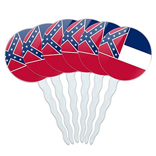 Set von 6Cupcake Picks Topper Dekoration State Flagge Mississippi State Flag (Mississippi State Flag)