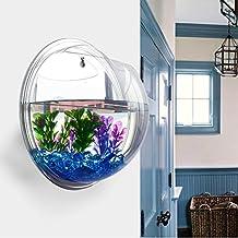Demiawaking Wall Plant Planter Acrylic Vases for Flowers Grass Hanging Fish Tank Bowl Aquarium Home Decor (Mirror)
