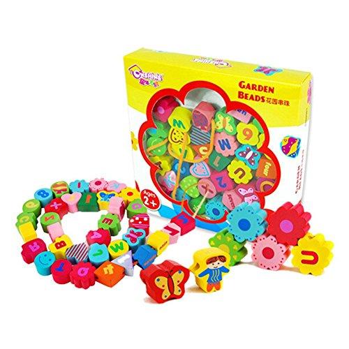 hibote Holz Bildungs-Spielzeug, Kinder Threading Perlen Spielzeug, Jumbo Holz 36 Stück Schnürsystem Perlen in einer Box