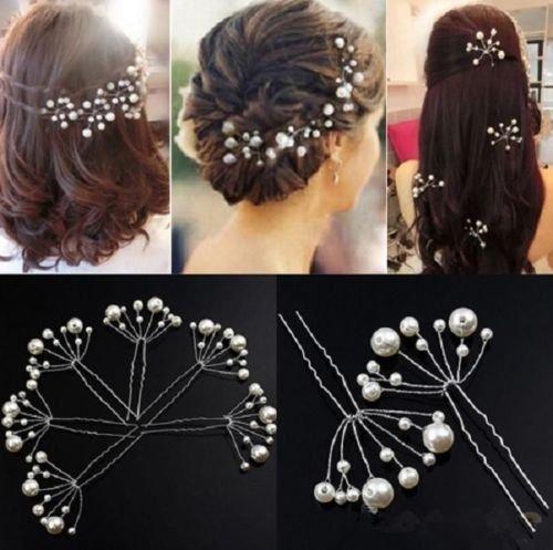 Accessoires cheveux coiffure mariage 1 épingle à chignon perles blanches forme éventail