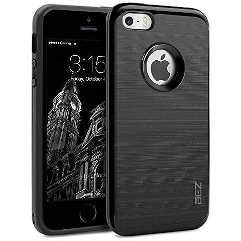 iPhone 5S Hülle, iPhone 5 Hülle, BEZ® Schlanke Weiche TPU mit Outdoor Stoßfestes Fallschutz Schutzhülle [Schwarz] [Silikon Slim Armor] für Apple iPhone 5S 5