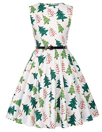 Swing Maedchen Retro Kleid Weihnachten Kleid 6-7 Jahre KK834-3