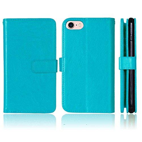 iPhone Case Cover Flip Folio Solid Color Premium-Kunstleder Ständer Wallet mit 9 Card Cash-Steckplätze für IPhone 7 4,7 Zoll ( Color : White , Size : IPhone 7 ) Blue