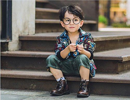 Filles Garçons Martin Bottes Boots Chaussures de Cuir Ville Souliers Raquettes à Neige Marron marron