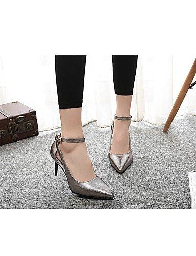 WSS 2016 Chaussures Femme-Habillé / Soirée & Evénement-Argent / Gris / Or-Talon Aiguille-Talons / Bout Fermé-Talons-Similicuir gray-us5.5 / eu36 / uk3.5 / cn35