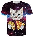 uideazone Unisex Katze T-Shirts 3D Print Kurzarm Crewneck T-Shirts T-stück