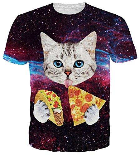 uideazone Teens Boys Kurzarm T-Shirts 3D Print Pizza Katze T-Shirts Coole M