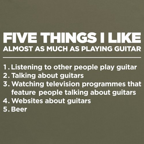 Five Things I Like - Guitar T-Shirt, Herren Olivgrn