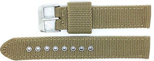 New Condor Nylon Canvas Watch Strap Band 18mm Khaki with Free Spring Bars - 112G_11K_18_W