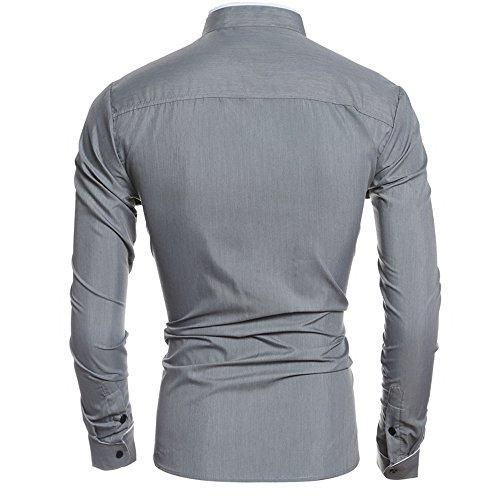 Italily -Moda Elegante Camicia, Uomo Casual Camicia Slim Fit,Camicetta A Maniche Lunghe Camicia Casual Uomo Maniche Lunghe Business Gray