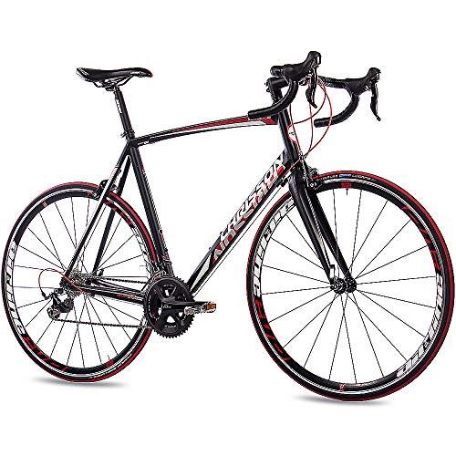 CHRISSON 28 Zoll Rennrad Road Bike - Reloader schwarz 56 cm mit 20 Gang Shimano 105 Schaltung - Straßenrennrad mit Carbon Gabel für Damen und Herren
