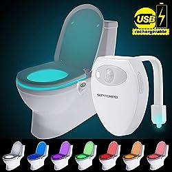 SUPTEMPO Wiederaufladbare Toilettenlicht mit Bewegungssensor WC Nachtlicht LED Toilette Licht Lampe
