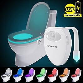 Suptempo WC luce notturna LED con sensore di movimento attivato USB ricaricabile impermeabile WC luce con 8 colori che cambiano