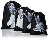 Pochettes idéales pour voyager ! Ce set de 4 pochettes permet aux hommes de ranger soigneusement leurs chaussures, leurs caleçons et slips, leurs chaussettes et leurs ceintures.