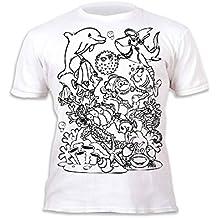 Splat Planet Camiseta Sea Life deifín para niños y niñas. con impresión para Pintar y