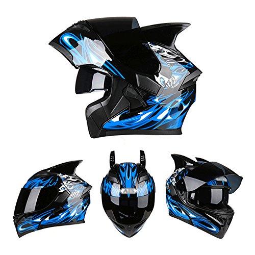 Unisex Motorrad Helm Semi-Full Abgedeckt Vier Jahreszeiten Locomotive,Blue-XL