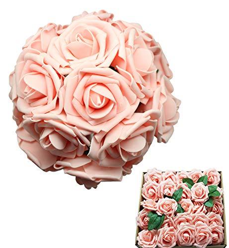 Unbekannt En Ge Künstliche Blumen, weiße Rosen, echt aussehend, künstliche Rosen, Blumen mit Stiel für DIY Hochzeit Blumensträuße Tafelaufsätze Arrangements Party Home Yard Halloween Dekoration Rose