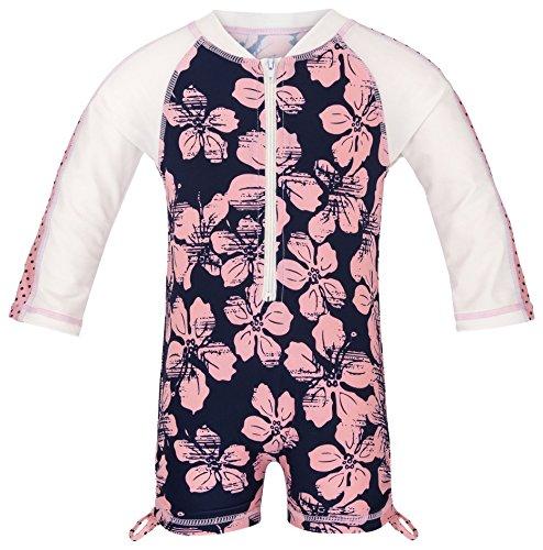 Snapper Rock Baby Mädchen & Knirpse UPF 50+ UV schützend warm Langarm Badeanzug für Kinder, Dunkelblau/Rosa, 12-24 monate, 86-92cm
