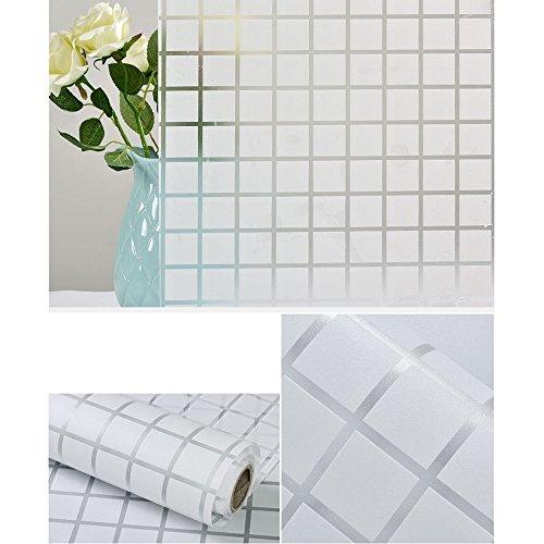 HOHO 45cm x39.3weiß Plaid strukturiert Folie, selbstklebend, Fenster Cover Schutz der Privatsphäre Glas Solar Tint (Plaid Vorhänge)