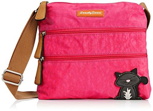SwankySwansRiley Cat Designer - Borsa a tracolla donna , rosa (Pink (Fuschia)), Taglia unica