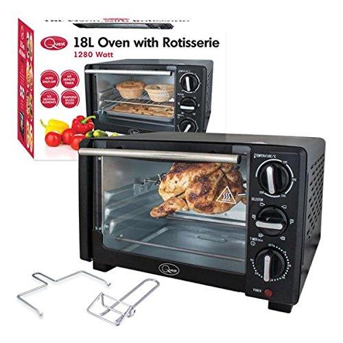 51Tz69CARwL. SS500  - Quest 35390 Mini Oven with Rotisserie, 18 Litre, 1280 Watt, 45.3 x 31.3 x 26.3cm