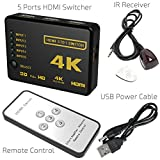 HDMI Switch 4k, Goodlucking Intelligent 5-Port HDMI Switch splitter switcher Supports 4K, Full HD1080p, 3D with IR Remote
